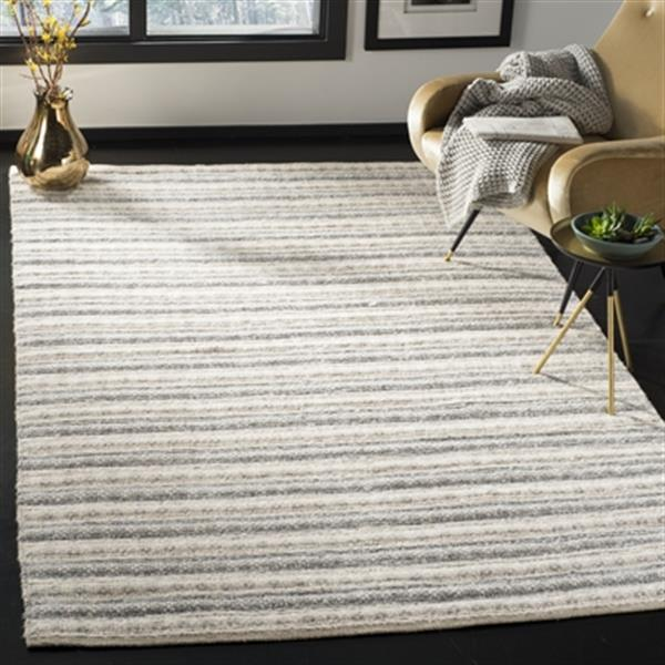 Safavieh Natura 5-ft x 8-ft Grey and Ivory Striped Hand Tufted Area Rug