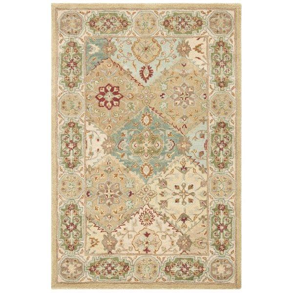 Safavieh Heritage 4-ft x 6-ft Cream Multi-Colored Rectangular Floral Tufted Area Rug