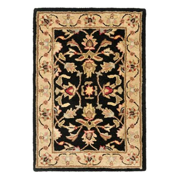 Safavieh Heritage 4-ft x 6-ft Cream and Black Rectangular Floral Tufted Area Rug