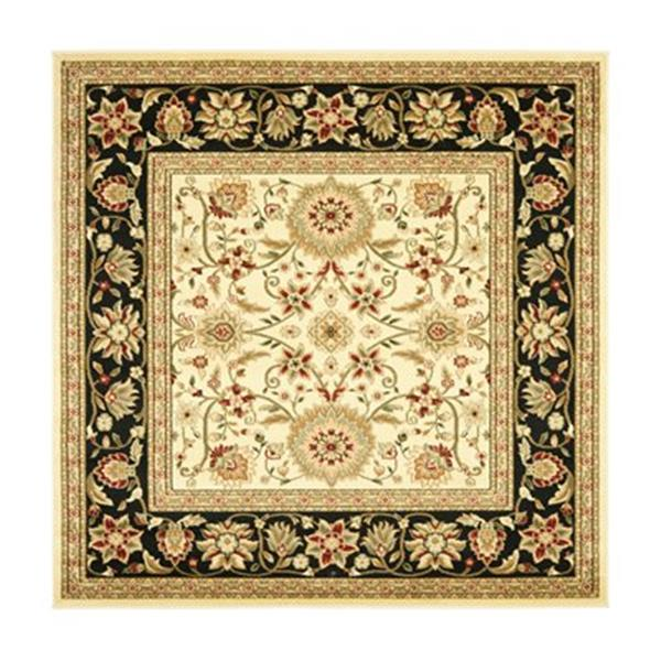 Safavieh Lyndhurst 6-ft x 6-ft Ivory and Black Square Floral Woven Area Rug