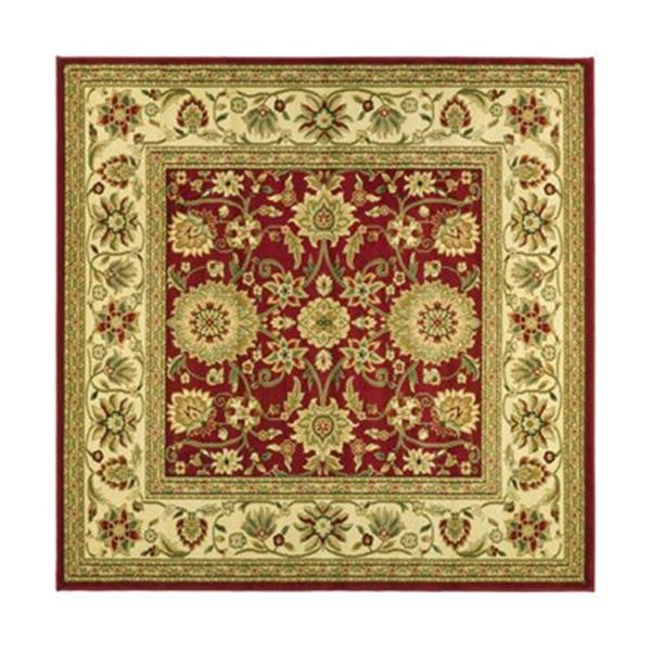 Safavieh Lyndhurst 6-ft x 6-ft Red and Ivory Square Floral Woven Area Rug