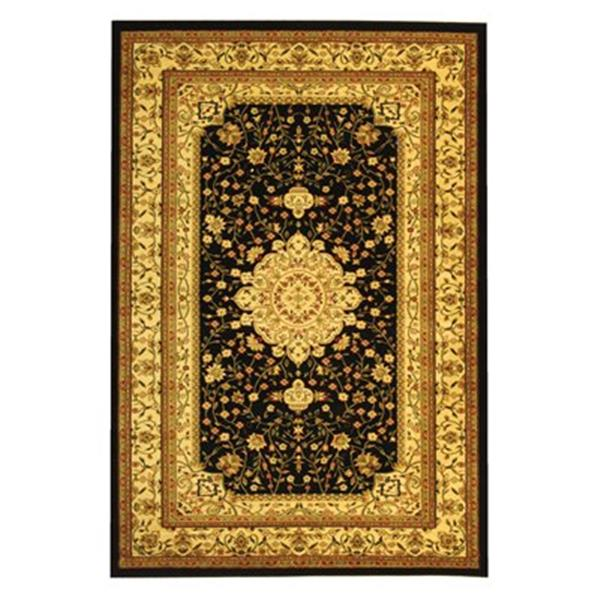 Safavieh Lyndhurst 5-ft x 8-ft Black Rectangular Floral Woven Area Rug