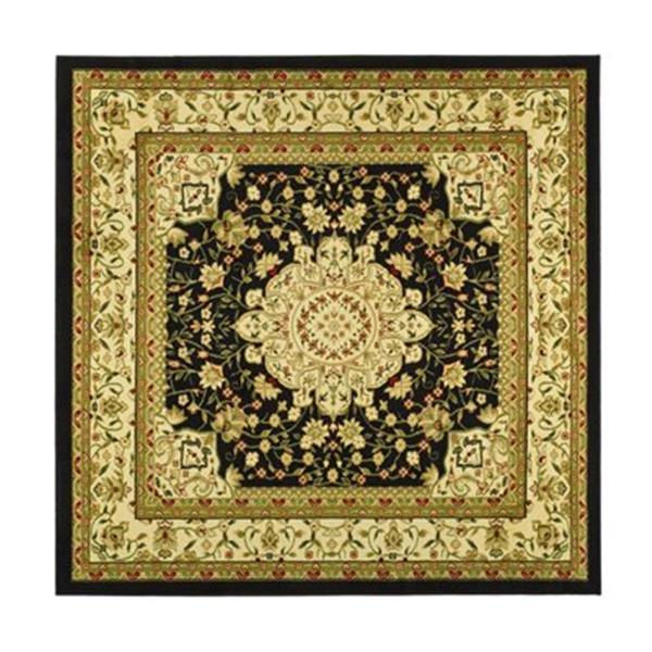 Safavieh Lyndhurst 6-ft x 6-ft Black Square Floral Woven Area Rug