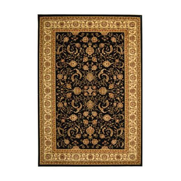 Safavieh Lyndhurst 5-ft x 8-ft Black Rectangular Floral/Oriental Woven Area Rug