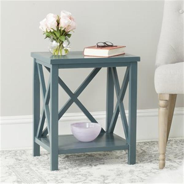 Safavieh American Home 21.5-in Candace Crossback Teal Wood End Table