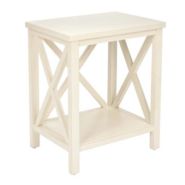 Safavieh American Home 21.5-in Candace Crossback Off-white Wood End Table