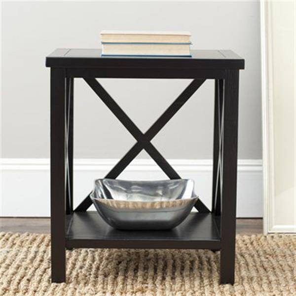 Safavieh American Home 21.5-in Candace Crossback Black Wood End Table