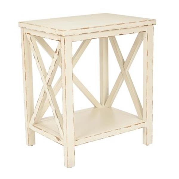 Safavieh Mia 21.5-in Distressed Ivory Wood End Table