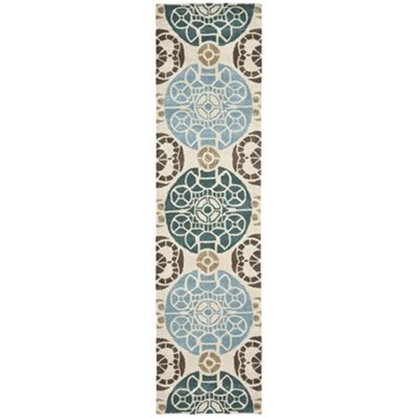 Safavieh Wyndham 9-ft x 2.25-ft Beige and Blue Area Rug