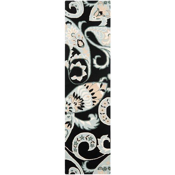 Safavieh Wyndham 9-ft x 2.25-ft Black and Multicolour Area Rug
