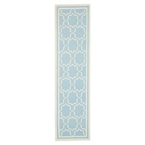 Safavieh Dhurries 30-in Light Blue/Ivory Runner