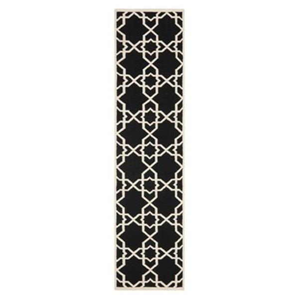 Safavieh Dhurries 30-in Black/Ivory Runner