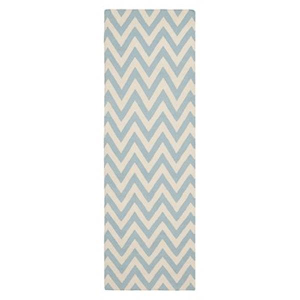 Safavieh Dhurries 30-in Blue/Ivory Runner