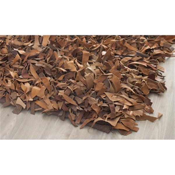 Safavieh Leather Shag 6-ft x 6-ft Brown Area Rug