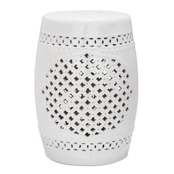 Safavieh Quatrefoil 18-in White Garden Stool