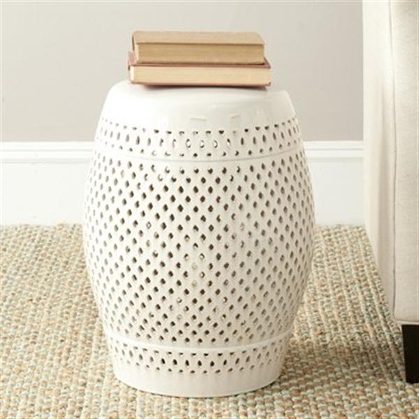 Safavieh Diamond 18.50-in Cream Garden Stool
