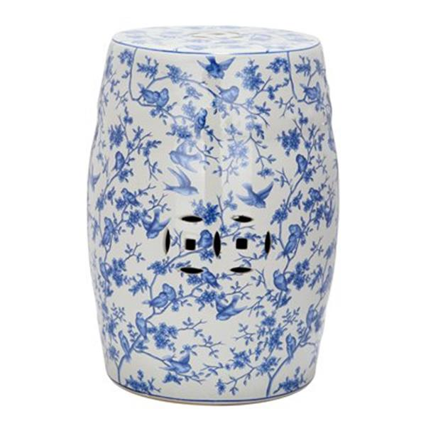 Safavieh 18.50-in Blue Birds Garden Stool