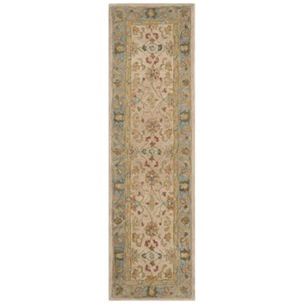 Safavieh Anatolia 2-ft x 8-ft Ivory/Blue Rectangular Floral Tufted Area Rug