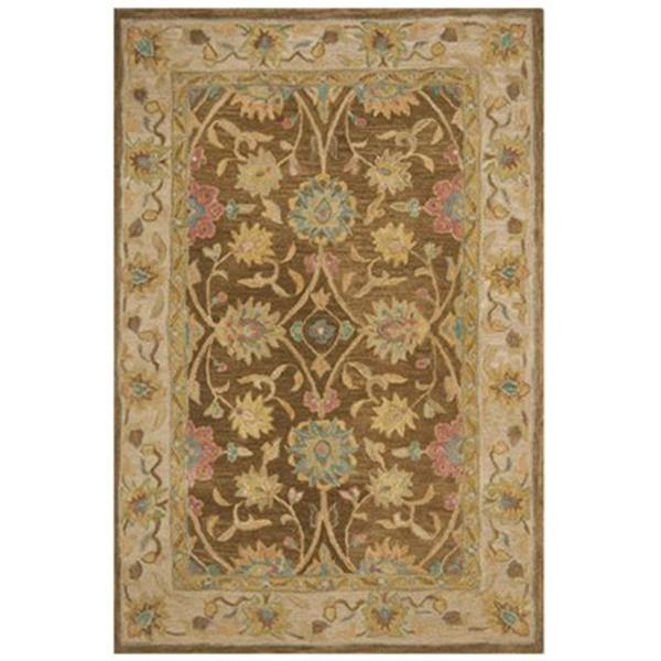 Safavieh Anatolia 2-ft x 8-ft Brown/Ivory Rectangular Floral Tufted Area Rug
