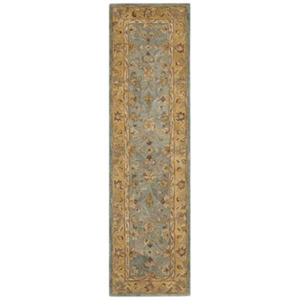 Safavieh Anatolia 2-ft x 8-ft Blue/Green Rectangular Floral Tufted Area Rug