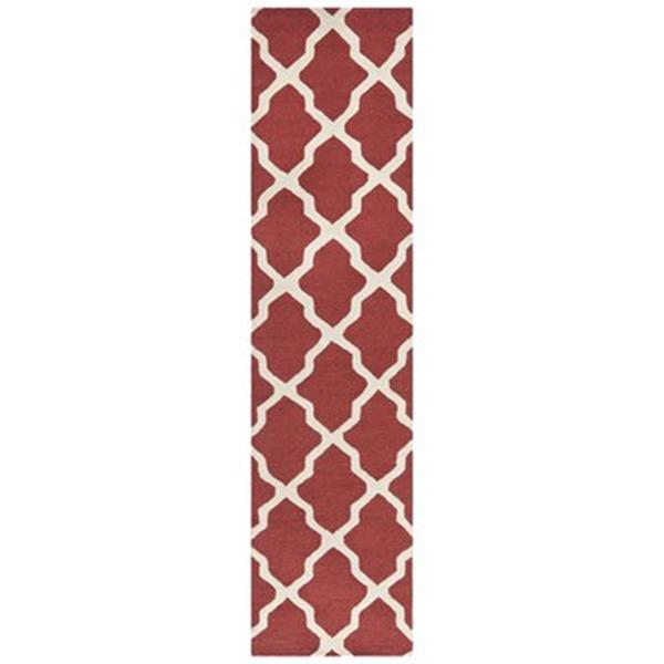 Safavieh Cambridge 3-ft x 10-ft Rust and Ivory Rectangular Trellis Tufted Area Rug