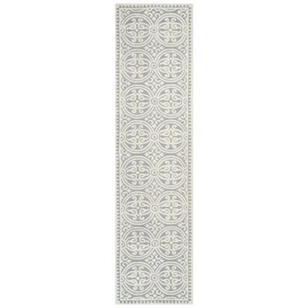 Safavieh Cambridge 3-ft x 10-ft Silver and Ivory Rectangular Geometric Area Rug