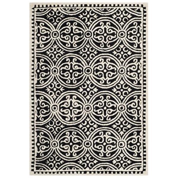 Safavieh Cambridge 4-ft x 6-ft Black and Ivory Rectangular Geometric Area Rug
