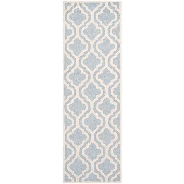 Safavieh Cambridge 3-ft x 10-ft Light Blue/Ivory Rectangular Area Rug