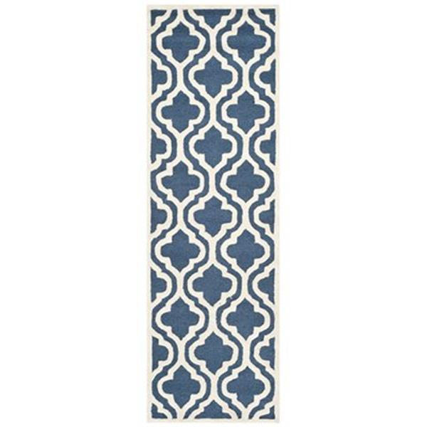 Safavieh Cambridge 3-ft x 10-ft Navy and Ivory Rectangular Area Rug