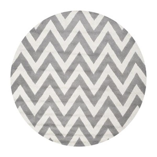 Safavieh Cambridge 10-ft x 10-ft Silver and Ivory Round Area Rug