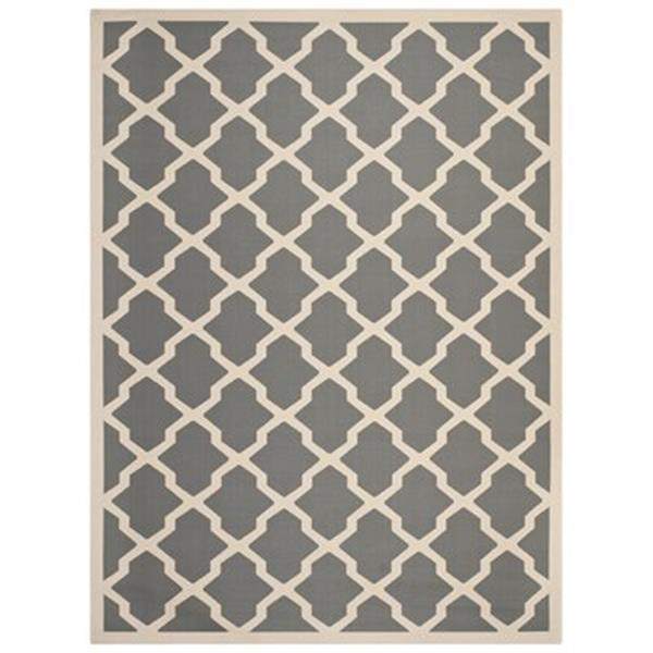 Safavieh Courtyard 7-ft x 10-ft Geometric Anthracite / Beige Area Rug