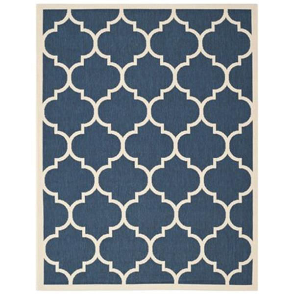 Safavieh Courtyard 7-ft x 10-ft Geometric Navy / Beige Area Rug