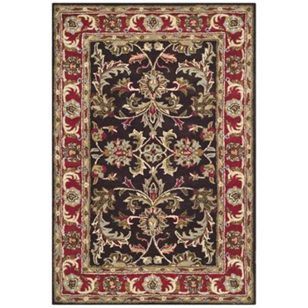 Safavieh Heritage 4-Ft x 6-ft Floral Chocolate and Red Area Rug