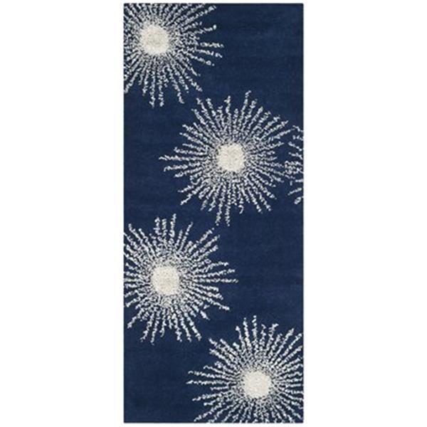 Safavieh Soho 3-ft x 8-ft Floral Dark Blue / Ivory Area Rug