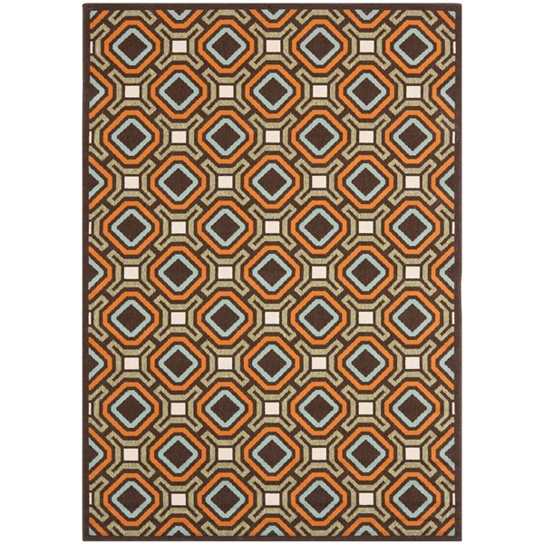 Safavieh Veranda  5-ft x 8-ft Floral Chocolate/Terracotta Area Rug