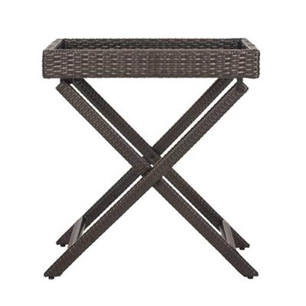 Safavieh 31.90-in Dark Brown Wicker Bardia Tray Table