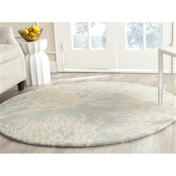 Safavieh Bella 5-ft Round Floral Grey and Ivory Area Rug
