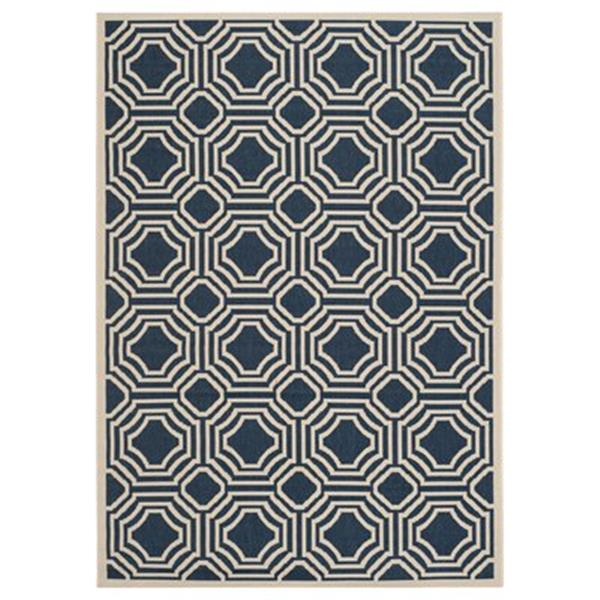 Safavieh Courtyard 9.5-ft x 6.58-ft Navy and Beige Area Rug
