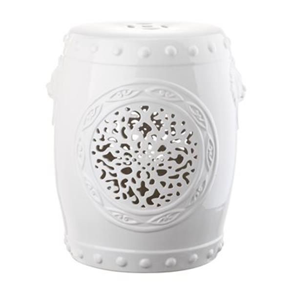 Safavieh Flower Drum 17-in White Ceramic Garden Stool