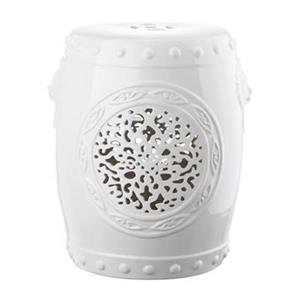 Safavieh Flower Drum 17-in White Ceramic Garden Stool
