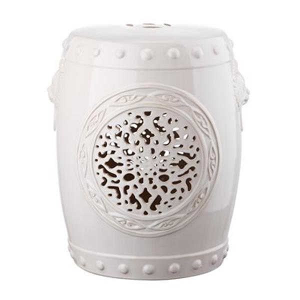 Safavieh Flower Drum 17-in Cream Ceramic Garden Stool