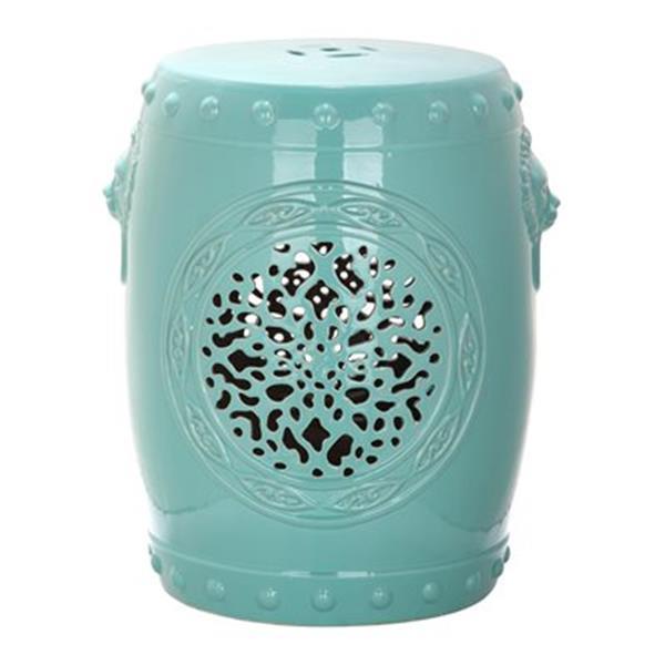 Safavieh Flower Drum 17-in Aqua Ceramic Garden Stool