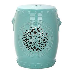 Safavieh Flower Drum 17-in Aqua Ceramic Garden Stool