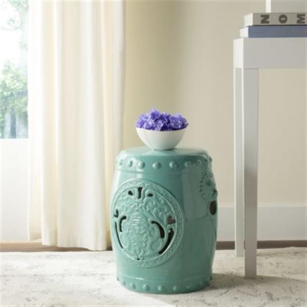 Safavieh Dragon Coin 17-in Light Blue Ceramic Garden Stool