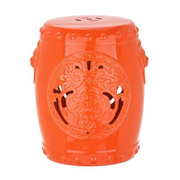 Safavieh Dragon Coin 17-in Orange Ceramic Garden Stool