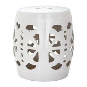 Safavieh Stencil Blossom 19-in Antique White Garden Stool