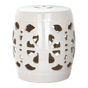 Safavieh Stencil Blossom 19-in Cream Ceramic Garden Stool