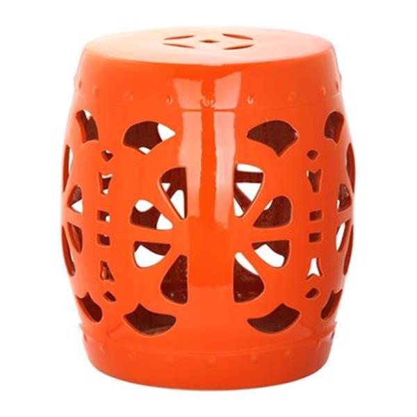 Safavieh Stencil Blossom 19-in Orange Ceramic Garden Stool