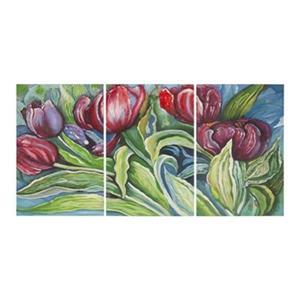 Safavieh 30-in x 60-in Nouveau Tulips Triptych Wall Art