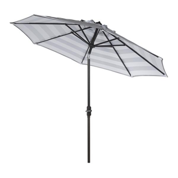 Safavieh Patio Iris Fashion Line 9-ft Grey/White Patio Umbrella